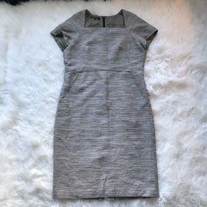 LAFAYETTE 148 GREY CREAM MARLED TWEED DRESS